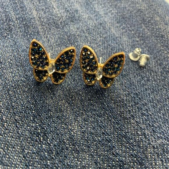 New Trendy Diamond Butterfly Earrings blue navy